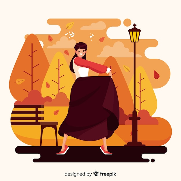 Illustrazione della gente nel parco di autunno Vettore gratuito