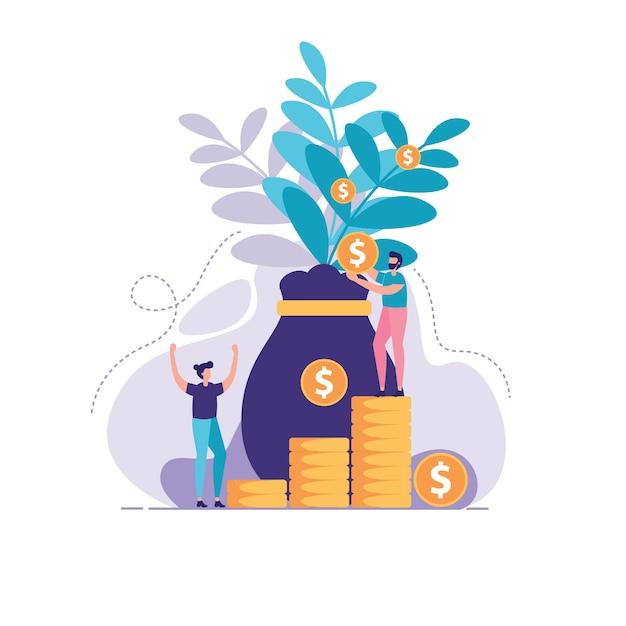 Illustrazione della gestione degli investimenti Vettore Premium