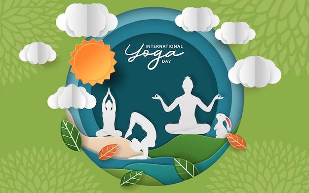 Illustrazione della giornata internazionale dello yoga Vettore Premium