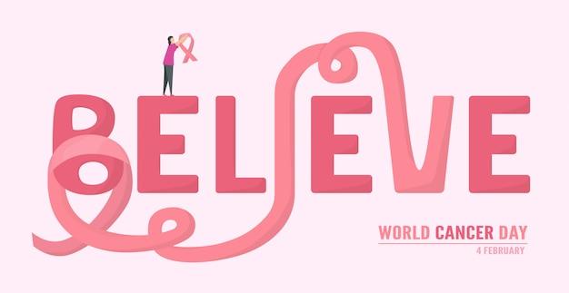 Illustrazione della giornata mondiale del cancro Vettore Premium
