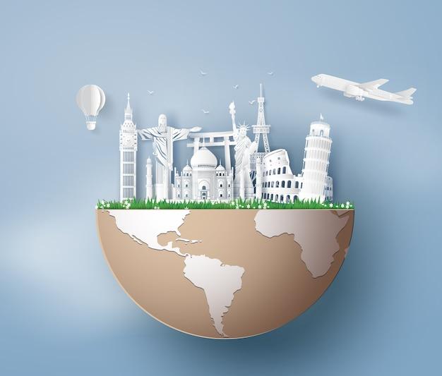 Illustrazione della giornata mondiale del turismo, arte carta stlye. Vettore Premium
