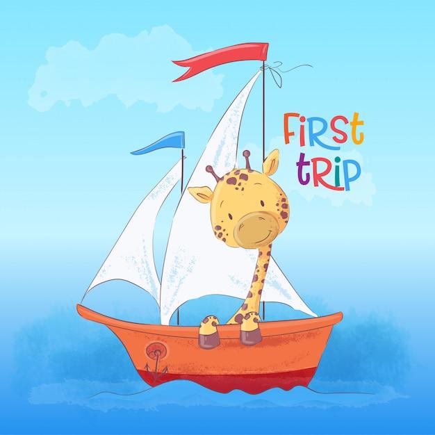Illustrazione della giraffa sveglia che galleggia sulla barca. stile cartone animato vettore Vettore Premium