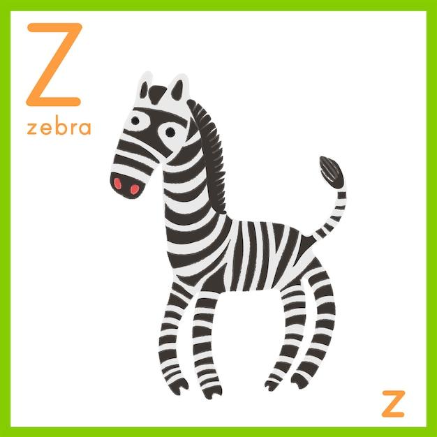 Illustrazione della lettera dell'alfabeto con l'immagine animale Vettore gratuito