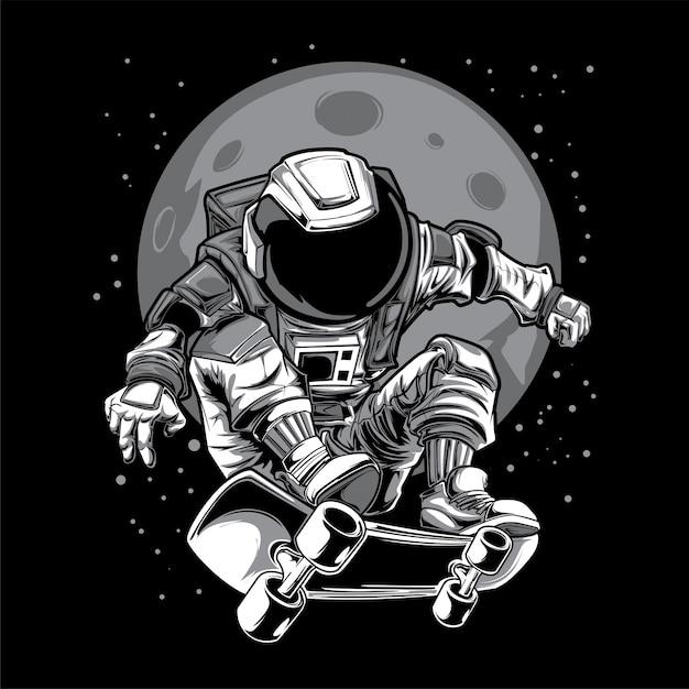 Illustrazione della luna dello spazio del pattino dell'astronauta Vettore Premium