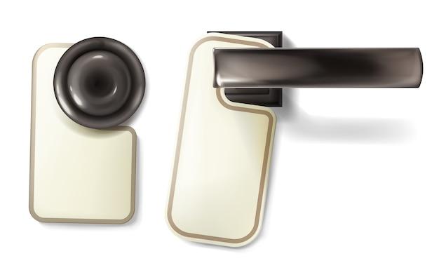 Illustrazione della manopola di porta dell'hotel della maniglia di giro metallica con l'etichetta di avviso di carta vuota d'attaccatura Vettore gratuito