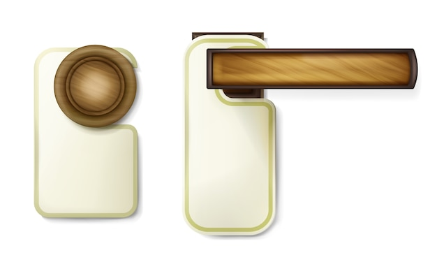 Illustrazione della manopola di porta dell'hotel della maniglia rotonda di giro di legno con l'avviso di carta vuoto d'attaccatura Vettore gratuito
