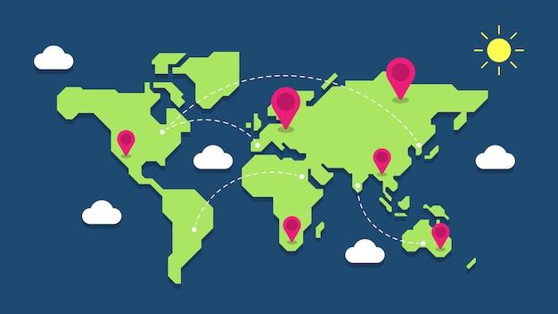 Illustrazione della mappa di mondo con i perni di posizione geografica Vettore Premium