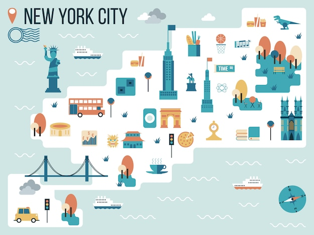 Illustrazione della mappa di new york city Vettore Premium