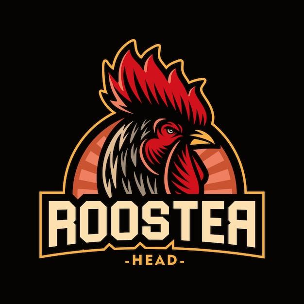 Illustrazione della mascotte di logo della testa del gallo Vettore Premium