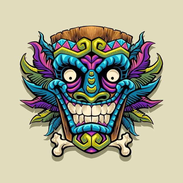 Illustrazione della mascotte maschera tiki Vettore Premium
