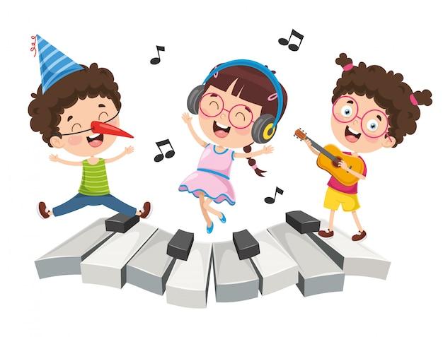 Illustrazione della musica per bambini Vettore Premium