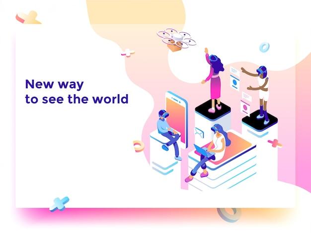 Illustrazione della nuova tecnologia Vettore Premium