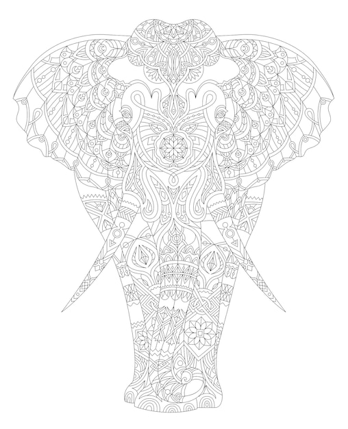 Illustrazione della pagina da colorare adulto animale Vettore gratuito