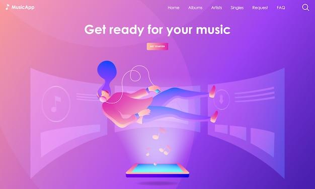 Illustrazione della pagina di destinazione della musica Vettore Premium