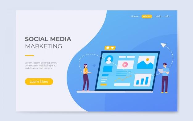 Illustrazione della pagina di destinazione marketing marketing sociale Vettore Premium