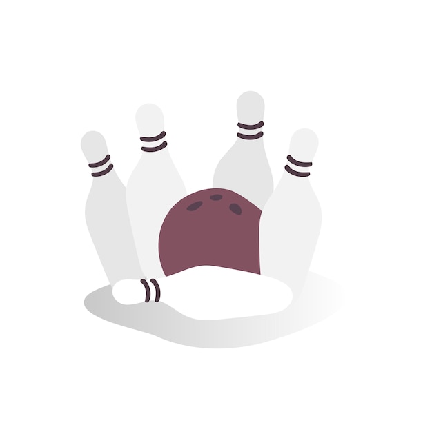 Illustrazione della palla da bowling e dei perni Vettore gratuito