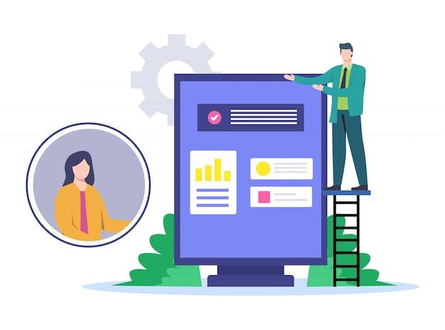 Illustrazione della presentazione con i clienti con i media online. Vettore Premium