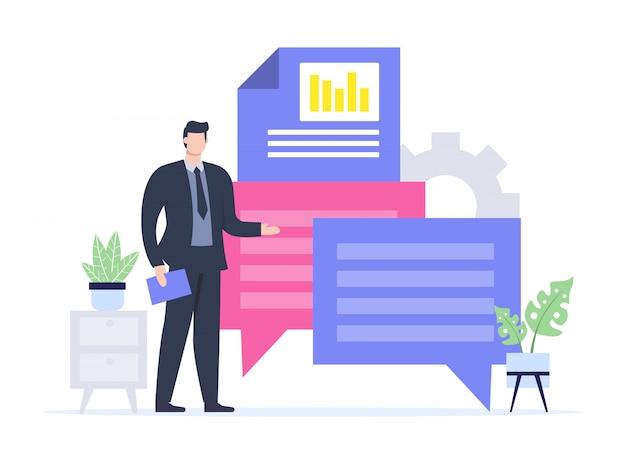 Illustrazione della presentazione maschile in piedi. Vettore Premium