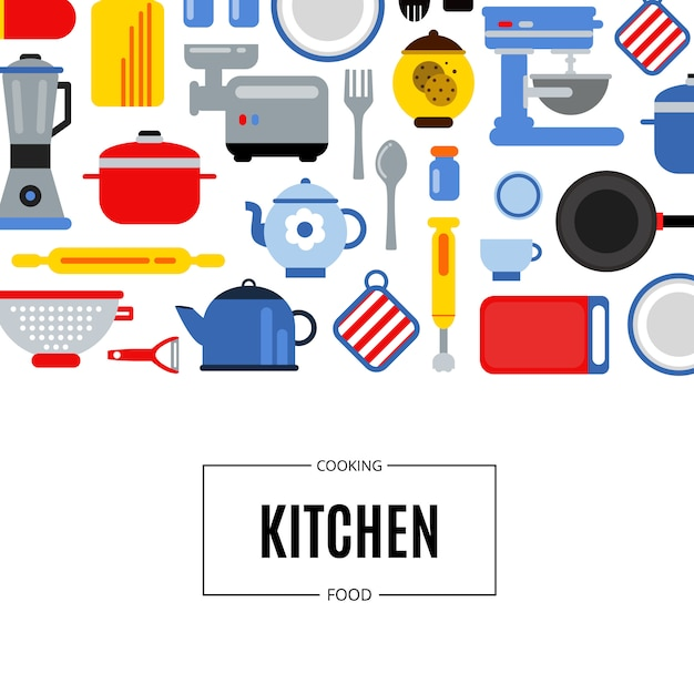 Illustrazione della priorità bassa degli utensili della cucina colorata stile piano con il posto per testo Vettore Premium
