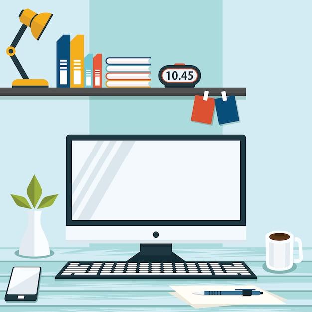 Illustrazione della progettazione piana di affari del computer della tabella dello spazio di lavoro per ufficio Vettore Premium