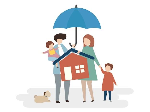 Illustrazione della protezione assicurativa casa Vettore gratuito