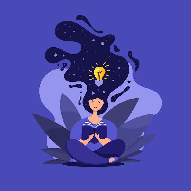 Illustrazione della ragazza carina nella posizione del loto leggendo un libro Vettore Premium