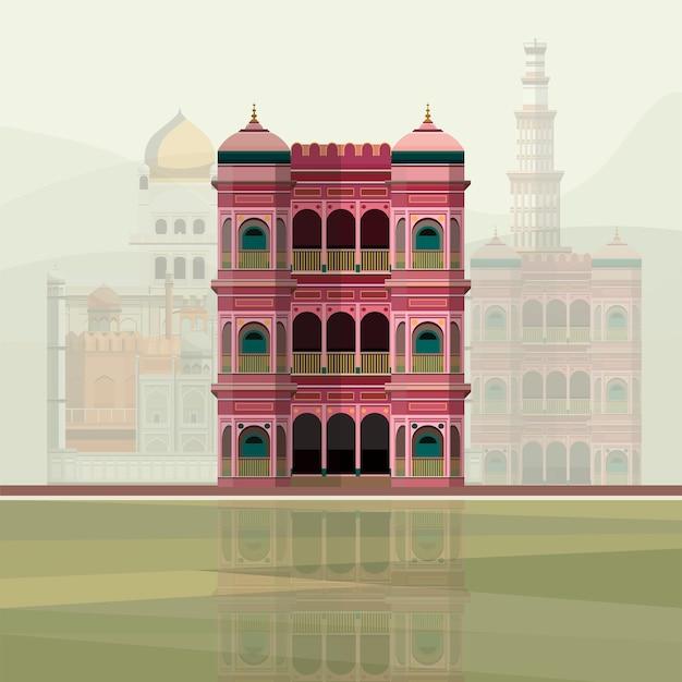 Illustrazione della residenza colorata edificio in india Vettore gratuito