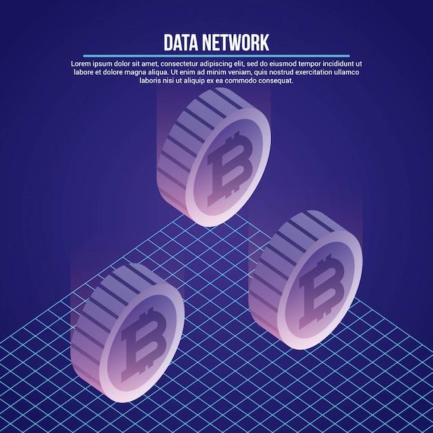 Illustrazione della rete dati Vettore gratuito