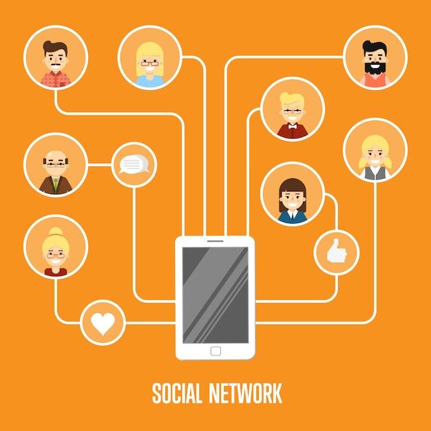 Illustrazione della rete sociale con persone collegate Vettore Premium