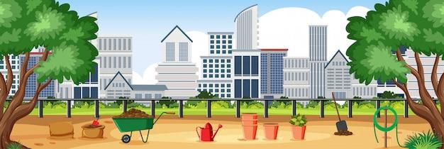 Illustrazione della scena con edifici e parco cittadino Vettore Premium