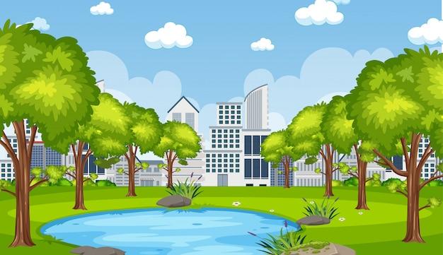Illustrazione della scena con il builsing della città e lo stagno nel parco Vettore Premium