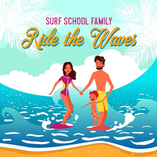 Illustrazione della scuola di surf Vettore gratuito