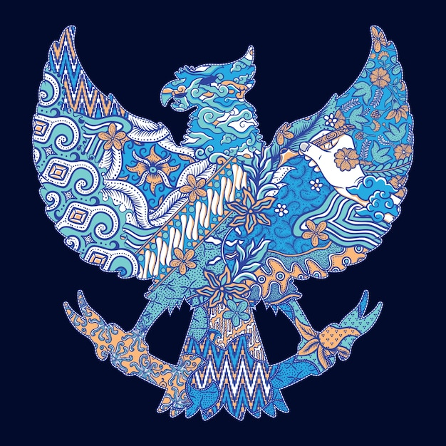 Illustrazione della siluetta di batik indonesia garuda Vettore Premium