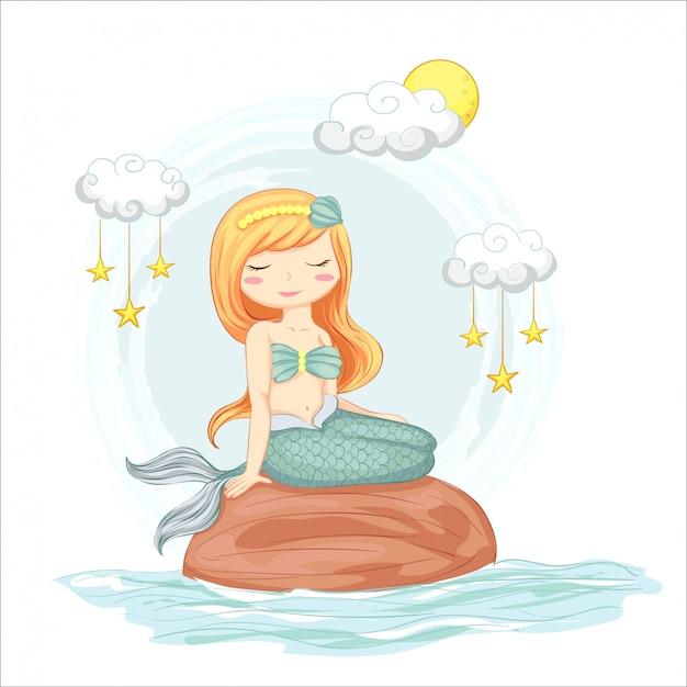 Illustrazione della sirena carino seduto su una roccia con nuvole e stelle disegnati a mano. Vettore Premium