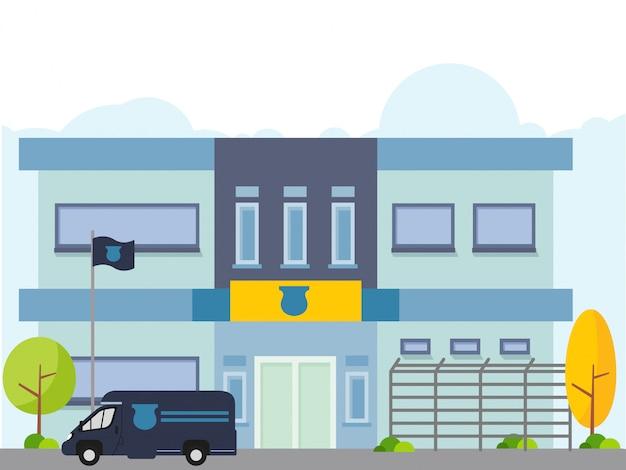 Illustrazione della stazione di polizia con il volante della polizia in stile piano Vettore Premium