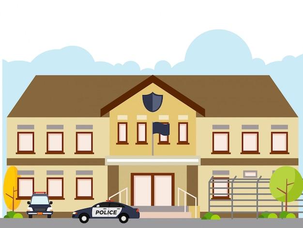 Illustrazione della stazione di polizia isolata su fondo bianco Vettore Premium
