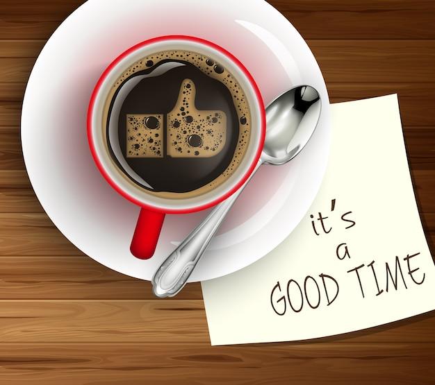 Illustrazione della tazza di caffè sul libro bianco della tavola di legno Vettore Premium