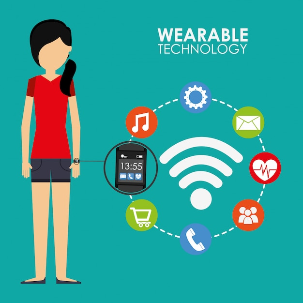 Illustrazione della tecnologia indossabile Vettore gratuito