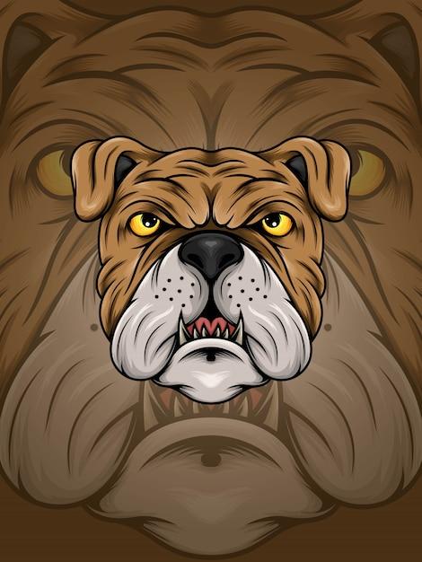 Illustrazione della testa del bulldog di brown Vettore Premium