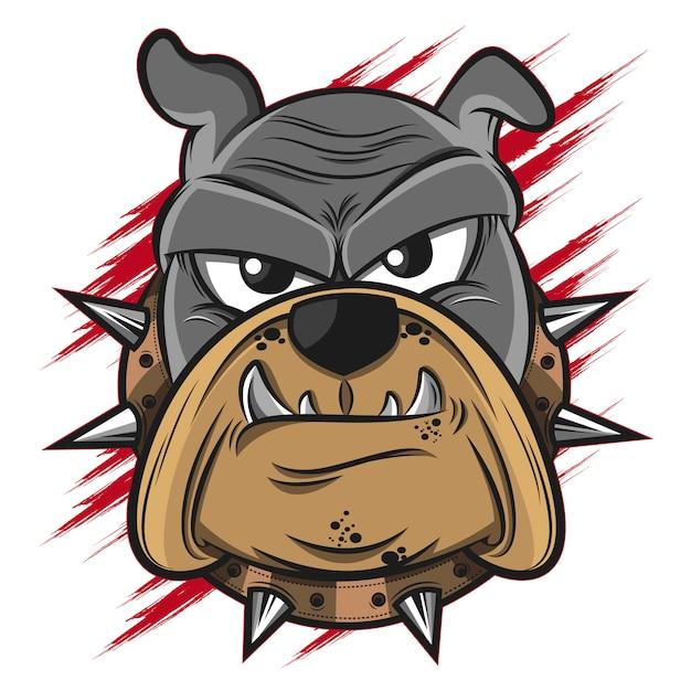 Illustrazione della testa del bulldog Vettore Premium