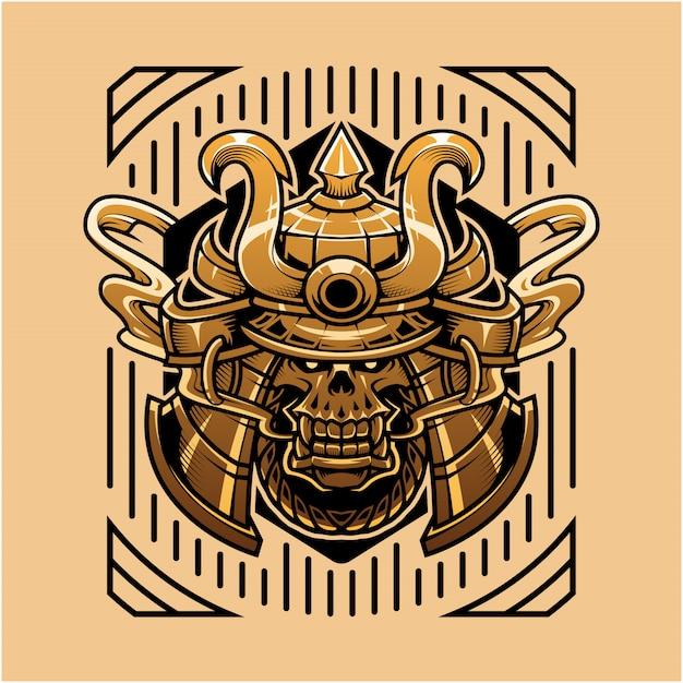 Illustrazione della testa del cranio del samurai Vettore Premium