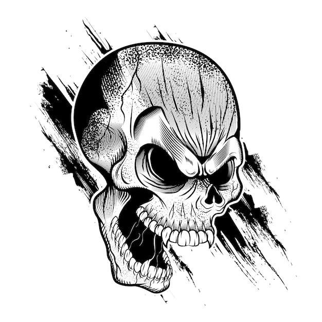 Illustrazione della testa del cranio Vettore Premium