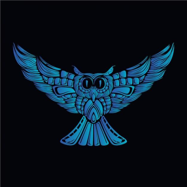 Illustrazione della testa del gufo blu Vettore Premium