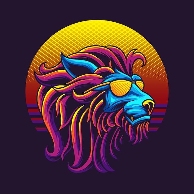 Illustrazione della testa del leone degli anni 80 Vettore Premium