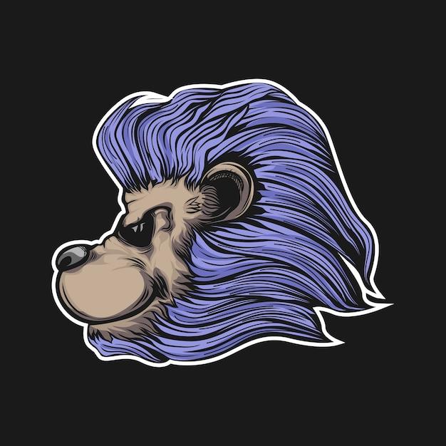 Illustrazione della testa di leoni Vettore Premium