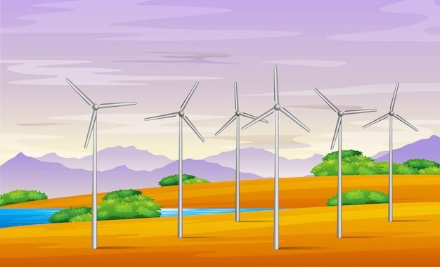 Illustrazione della torre del mulino a vento nel paesaggio Vettore Premium
