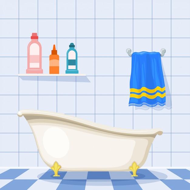 Illustrazione della vasca da bagno d'epoca sul pavimento piastrellato con bottiglie di plastica di shampoo e un asciugamano blu sul muro. stile cartone animato set di articoli per la cura. bagno retrò Vettore Premium