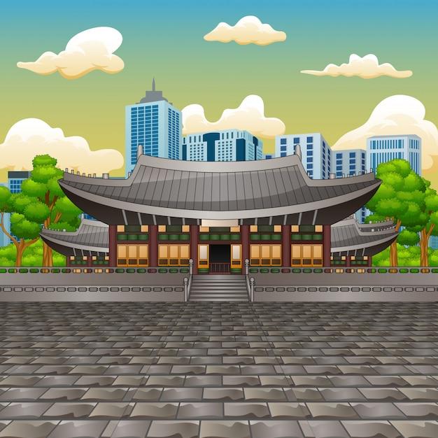 Illustrazione della vista del palazzo deoksugung con sfondo alto edificio Vettore Premium