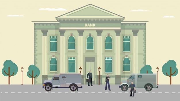 Illustrazione delle guardie di transito in contanti, personaggi dei cartoni animati in giubbotti antiproiettile che stanno vicino al fondo del veicolo blindato Vettore Premium