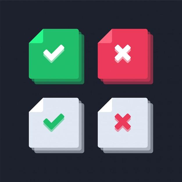 Illustrazione delle icone del segno di spunta e della croce rossa verde Vettore Premium